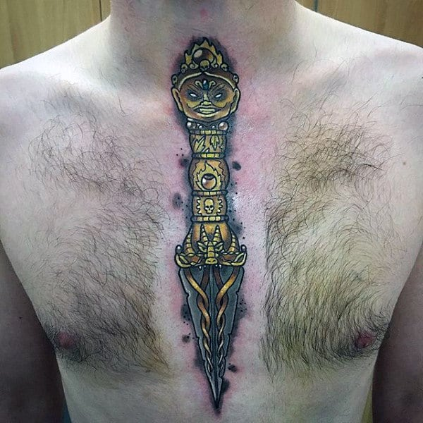 Dagger With Golden Handle Tattoo Male Chest