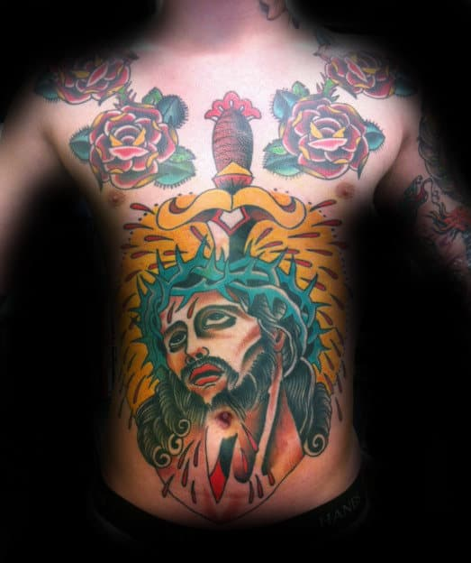 Dagger With Jesus Mens Traditional Old School Chest Tattoo