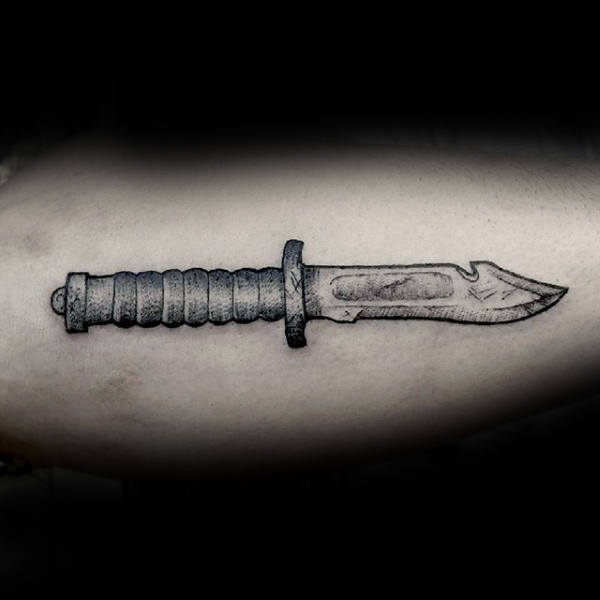 Dagger With Spiral Handle Tattoo For Men On Bicep