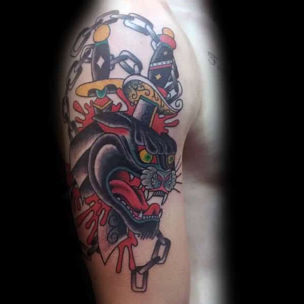 Daggers In Panther Guys Traditional Arm Tattoos