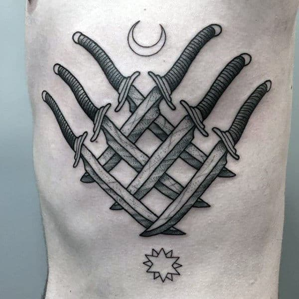 Daggers Six Tattoo Male Chest