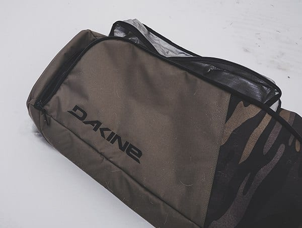 Dakine Fall Line Ski Roller Bag Review Boot Bag Side With Stiched Logo On Exterior