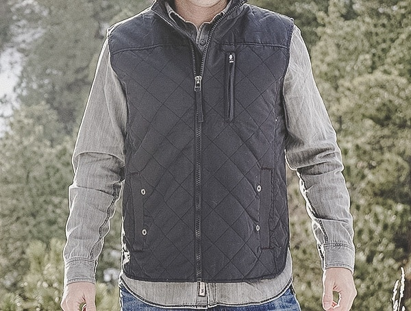 Dakota Grizzly Onyx Mens Quilted Vic Vest Review Front