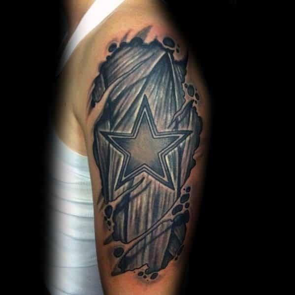 Dallas Cowboys Ripped Skin Arm Tattoos For Gentlemen
