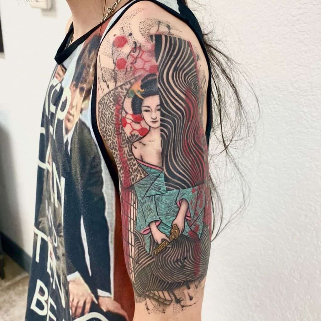 Dallas Oriental Japanese Geisha Line Tattoo