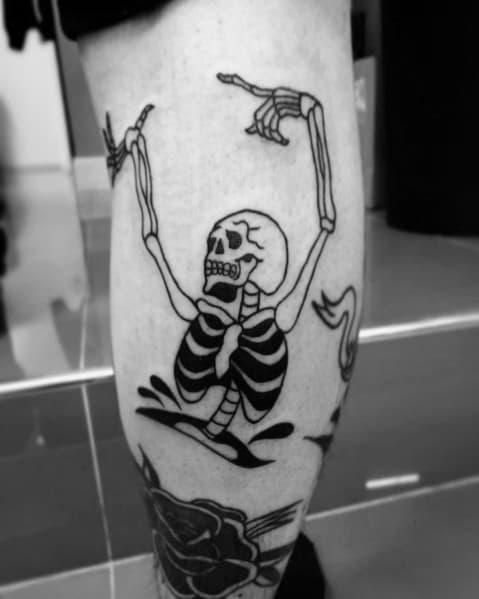 Dancing Skeleton Male Tattoos