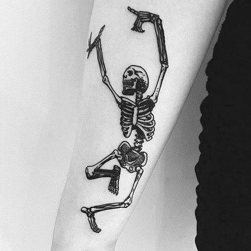 Dancing Skeleton Themed Tattoo Ideas For Men