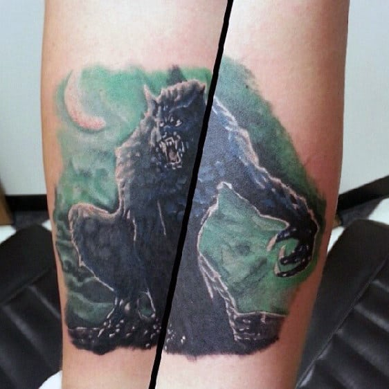 Dangerous Black Wolf Tattoo Mens Forearms