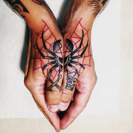 Dangerous Spider Tattoo On Hands For Men