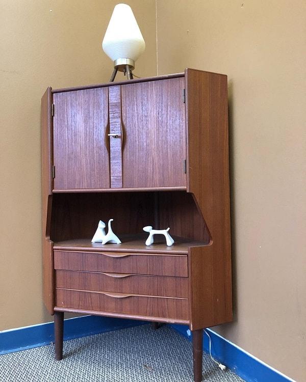 Danish Teak Corner Storage Cabinet Retropassion21