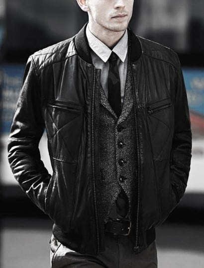 Dapper Male Black Leather Jacket How To Wear A Leather Jacket Outfit Grey Vest And Black Tie