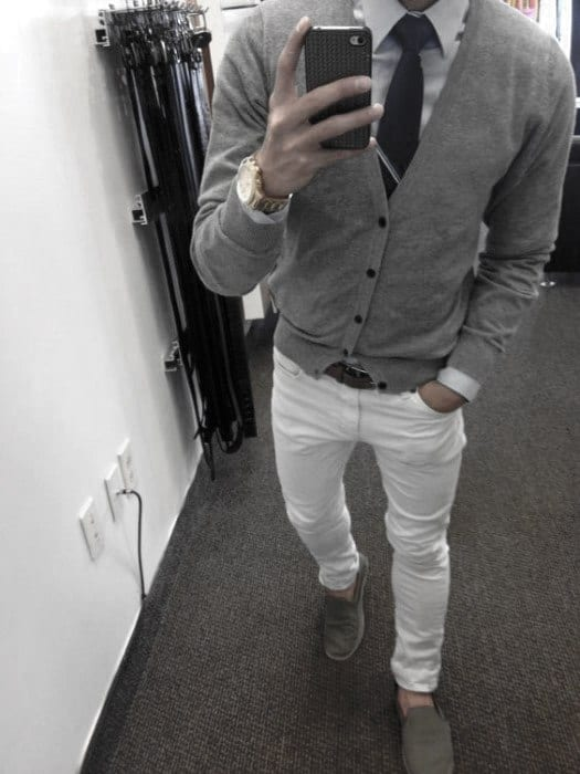 Dapper Male What To Wear With White Jeans Grey Sweater And Tie