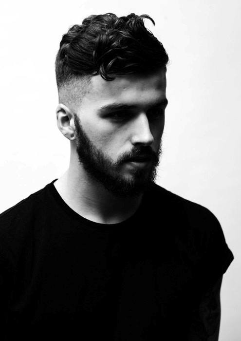 Dapper Medium Curly Fade Mens Haircuts