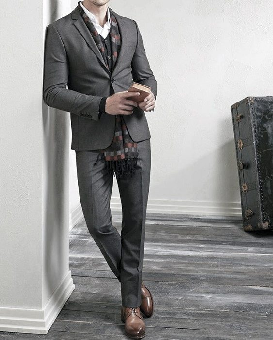 Dapper Mens Charcoal Grey Suit Brown Shoes Styles