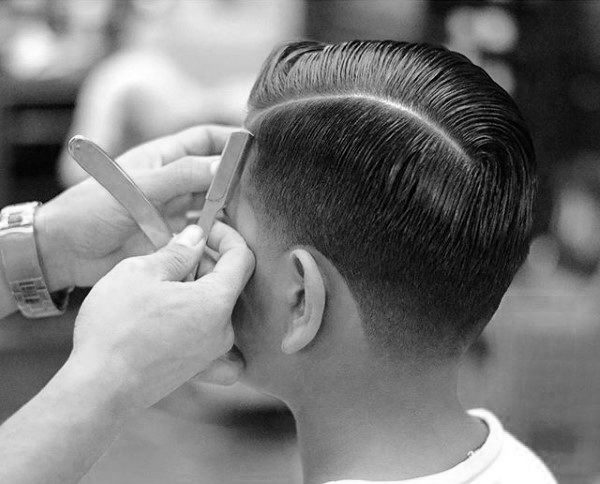 Dapper Mens Comb Over Hairstyle Wth Hard Part Shaven Line On Sides
