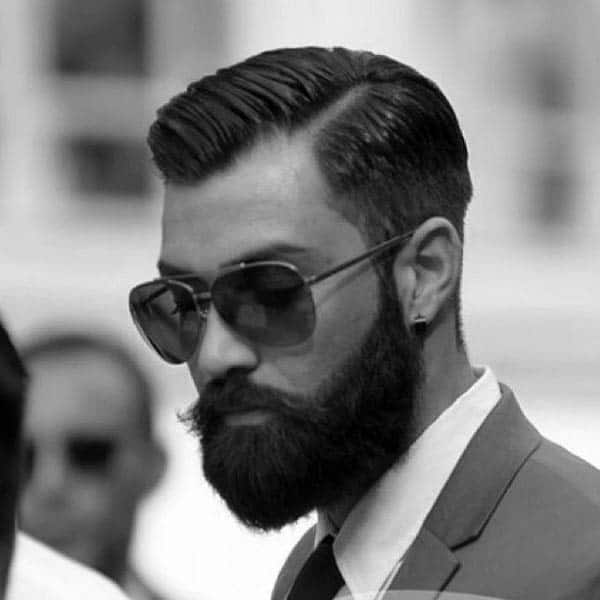 Dapper Mens Hard Part Traditional Hairstyle