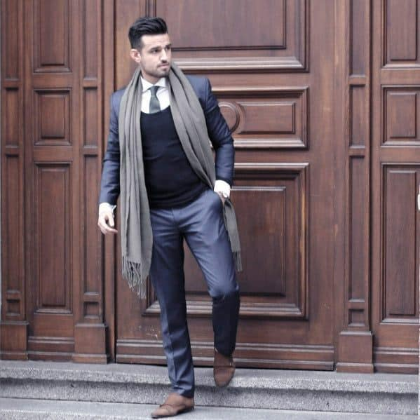 Dapper Mens Navy Blue Suit Brown Shoes And Grey Long Scarf Fall Season Styles
