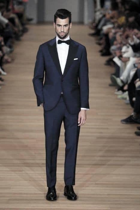 Dapper Mens Navy Blue Suit Tuxedo Black Shoes Styles