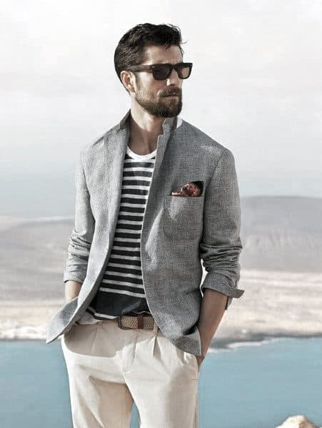 672927cea7cb Dapper Mens Summer Outfits Styles Grey Blazer With Striped Shirt