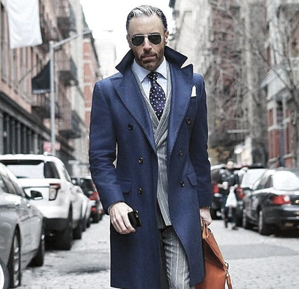 Dapper Mens Trendy Outfits Styles Blue Peacoat With Grey Suit