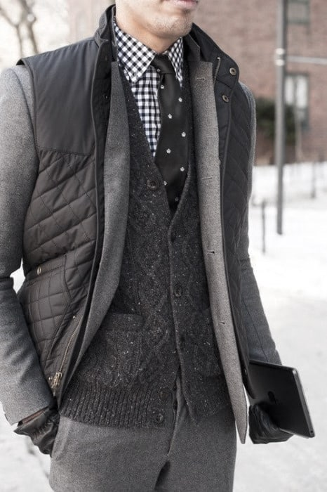 Dapper Mens Winter Outfits Styles Grey Color With Checkered Shirt
