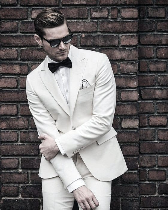 Dapper Suit And Bowtie All White Outfits For Men
