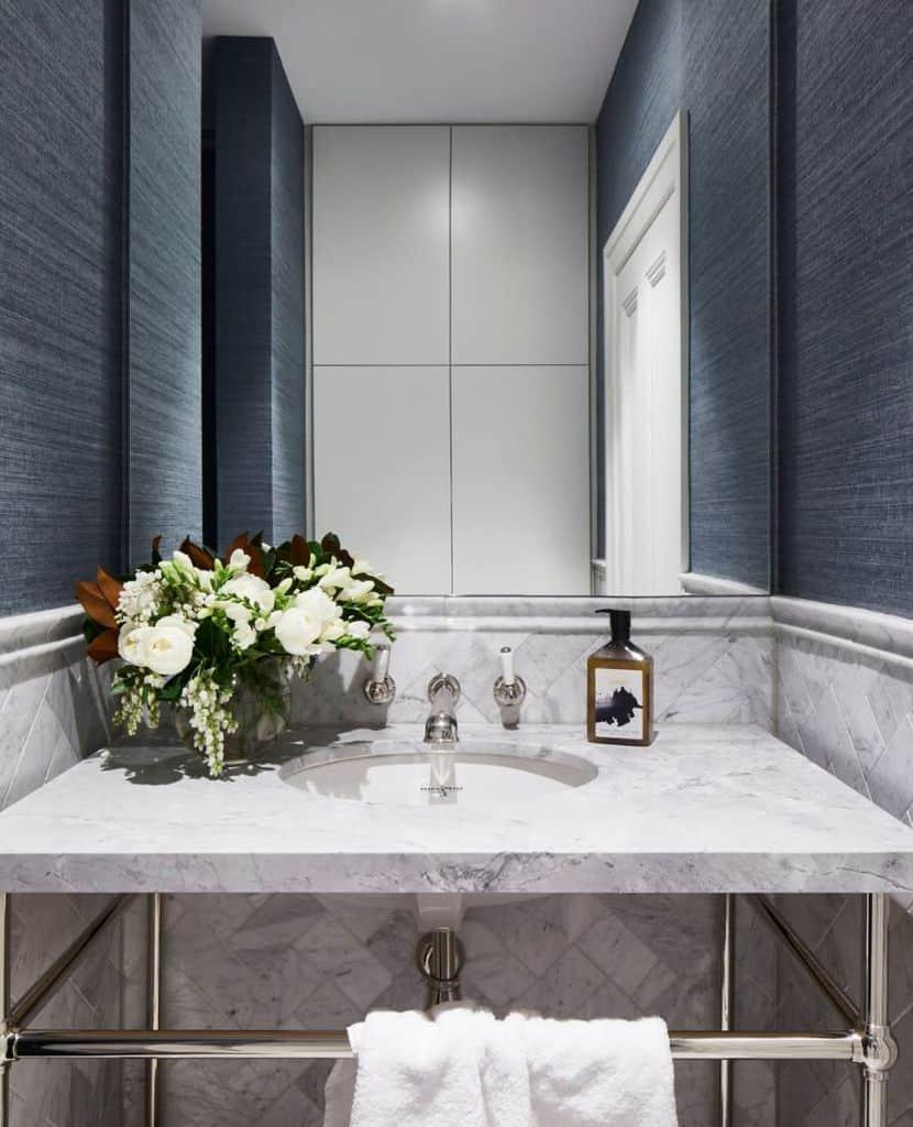 Dark Bathroom Wallpaper Ideas Kwdandco