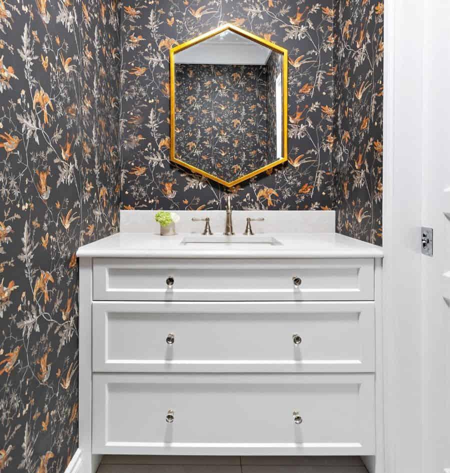 Dark Bathroom Wallpaper Ideas Paragondesignbuild