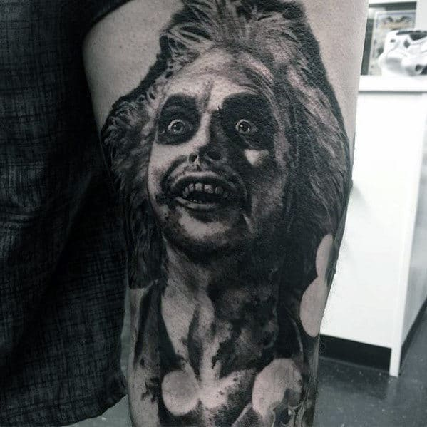 Dark Beetlejuice Mens Thigh Tattoos