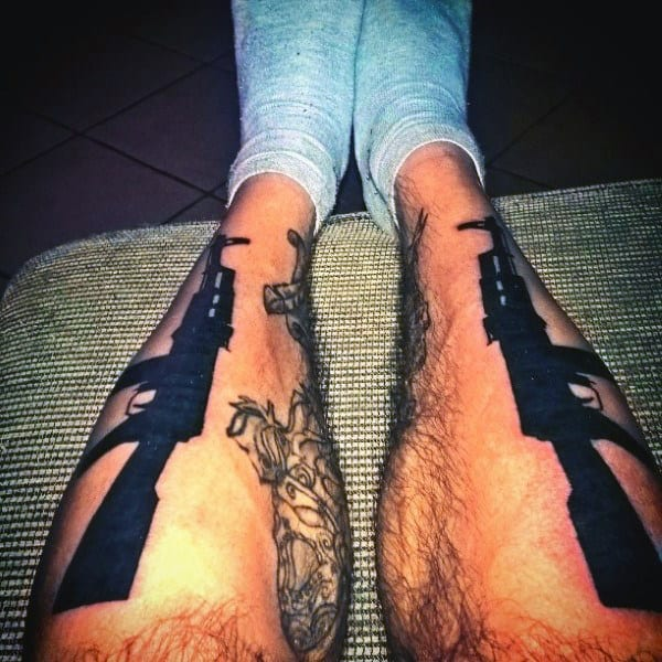 Dark Black Ak 47 Tattoo Male Legs