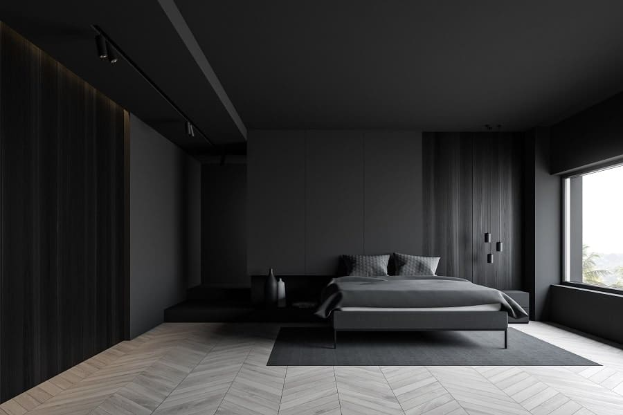 Dark Black And Grey Bachelor Pad Male Bedrooms