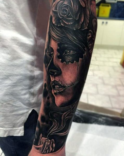 Dark Black Burning Candle And Lady Day Of The Dead Tattoo Mens Forearms