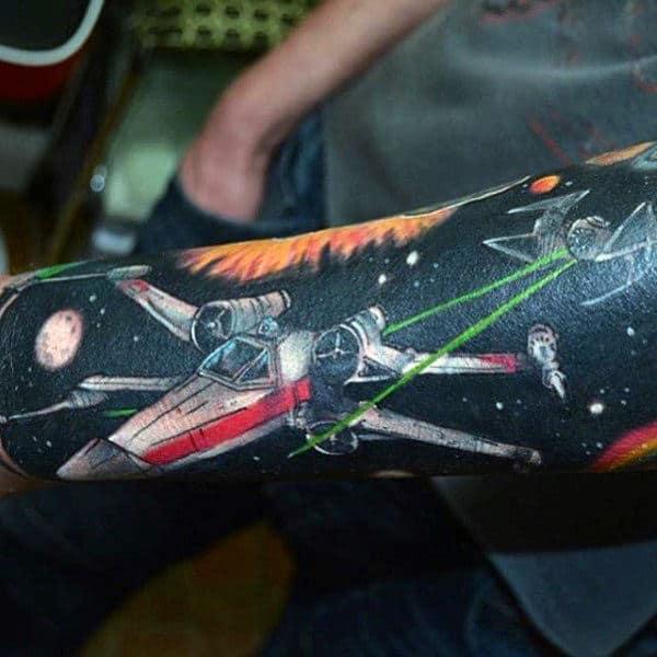 Dark Black Flight Star Wars Spacecraft Guys Forearm Sleeve Tattoos
