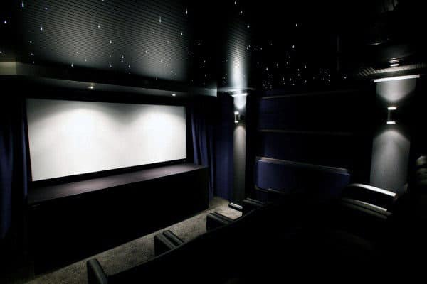 Dark Black Home Theater With Star Ceiling Inspiration