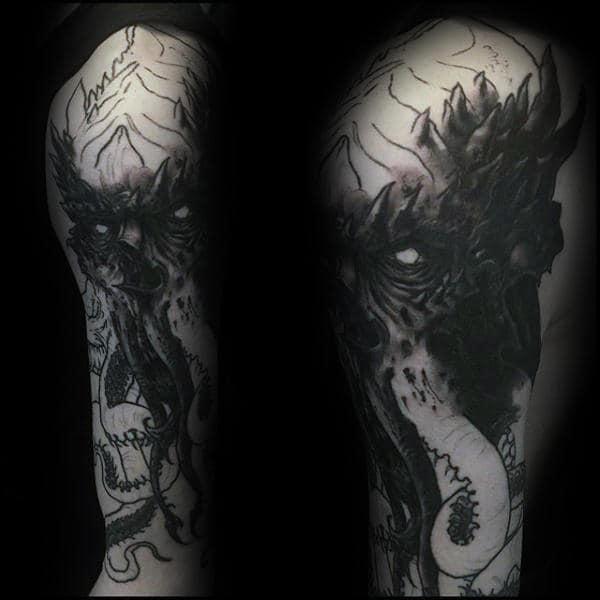 Dark Black Ink Cthulhu Guys Full Arm Tattoo Designs