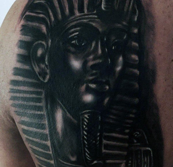 Dark Black Ink King Tut Mens Shoulder Tattoo Design Ideas