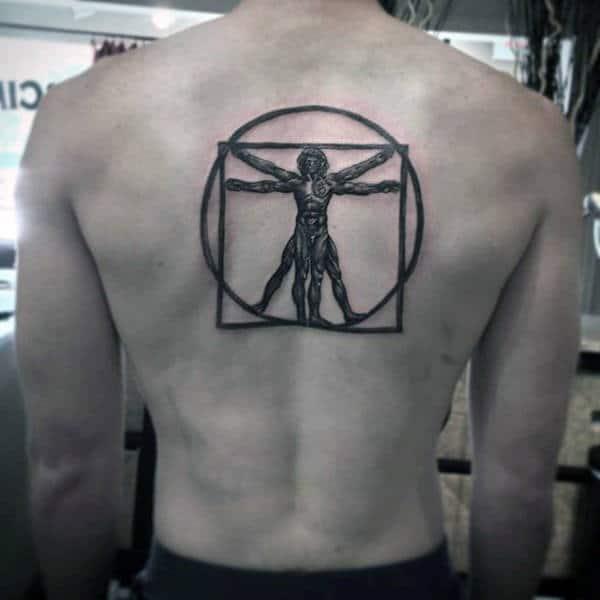 Dark Black Ink Male Vitruvian Man Center Of Upper Back Tattoos