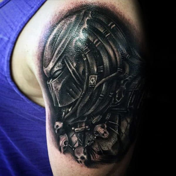 Dark Black Ink Shaded Predator Male Arm Tattoos