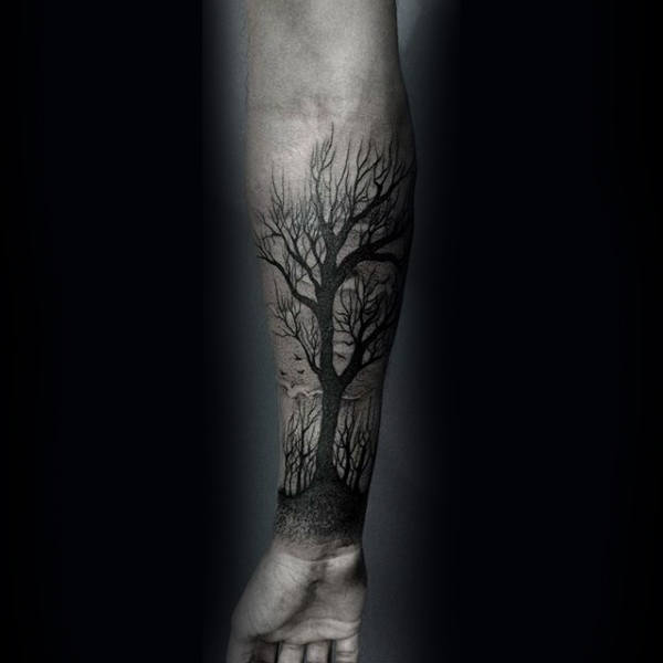 Dark Black Ink Shaded Tattoo Of Tree On Male