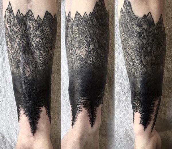 Dark Black Mens Tree Tattoos Forearm