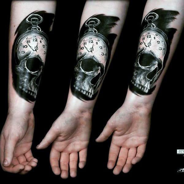 Dark Black Skull And Pocket Watch Tattoo Forearms Guys