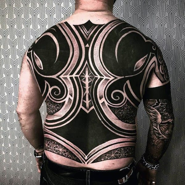 Dark Black Speherical Pattern Tattoo Male Full Back
