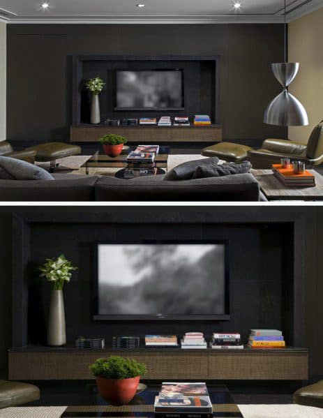 Dark Black Television Wall Ideas Inspiration