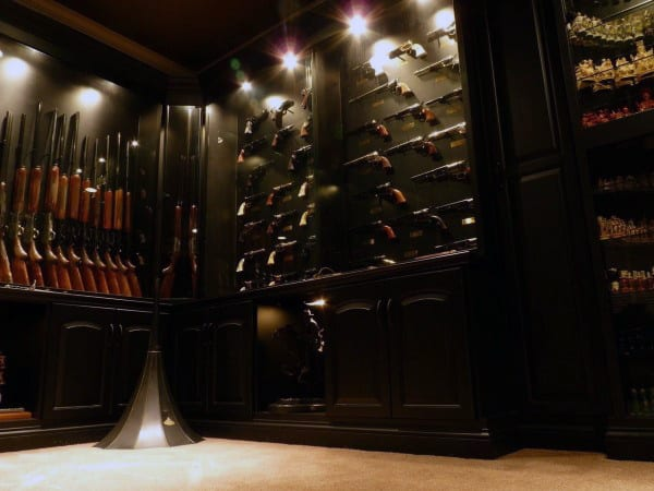 Dark Black Wood Cabinets Gun Room