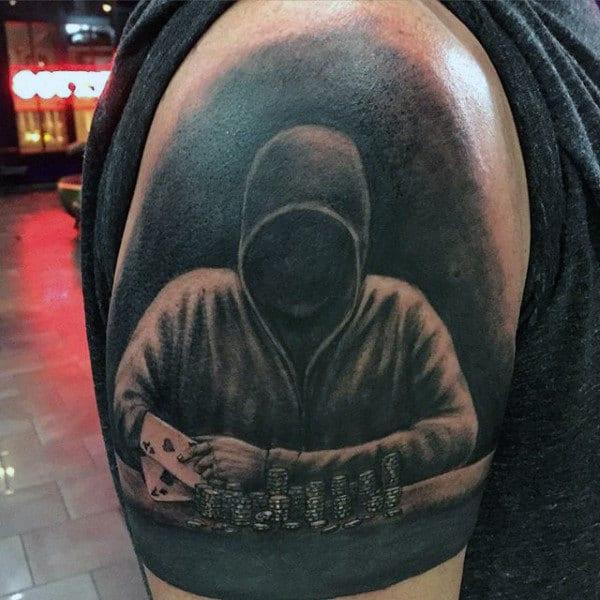 Dark Blackjack Player Guys Playing Card Upper Arm Tattoo