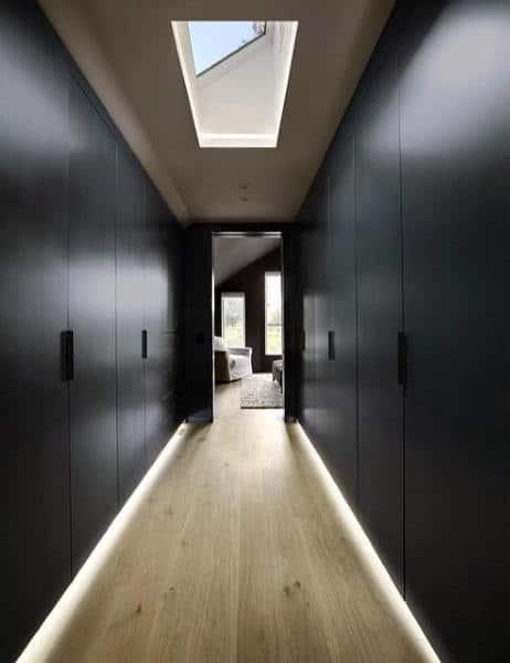Dark Blue Mens Closet Cabinets With Skylight Window