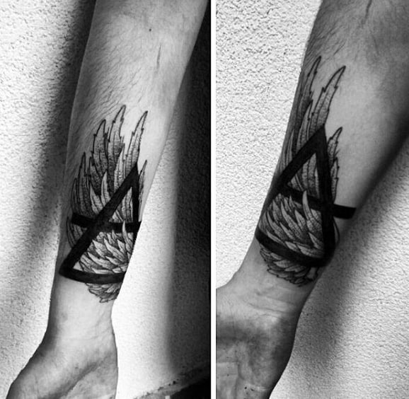 Dark Bold Triangle Tattoo Over Feathers On Arms For Guys