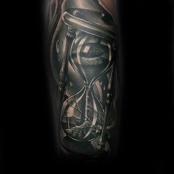 Dark Broken Hourglass 3d Mens Black And Grey Arm Tattoo