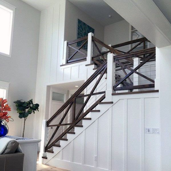 Dark Brown Stained Wood Ideas For Stair Railing Interior