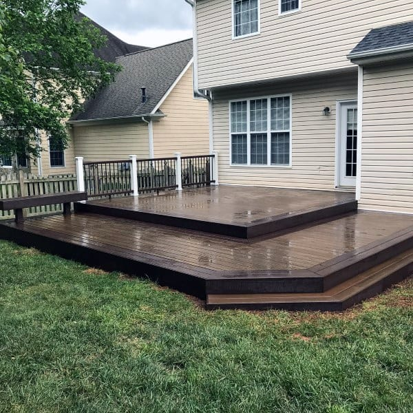 Dark Brown Wood Backyard Deck Ideas - Top 60 Best Backyard Deck Ideas - Wood And Composite Decking Designs